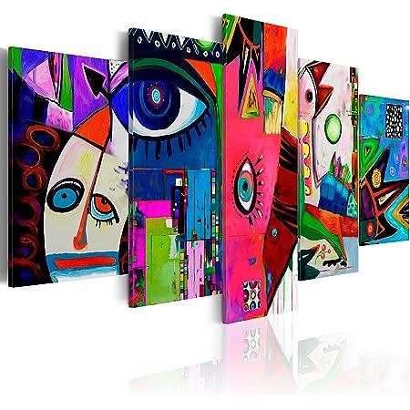 B&D XXL murando Impression sur Toile intissee 255x112 cm cm 5 Parties Tableau Tableaux Decoration Murale Photo Image Artistique Photographie Graphique Abstrait a-A-0113-b-n