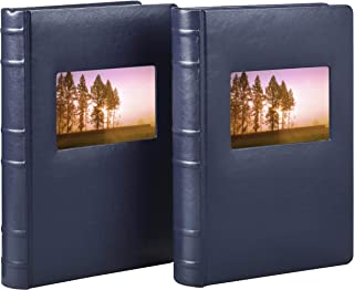 Old Town Bonded Leather Photo Album, 2 Pack (Navy)