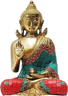 Brass Gift Center Buddha statue Showpiece - 16 cm (Brass Multicolor)