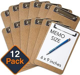 "Mini Clipboard 6"" x 9"" (Set of 12) Memo Clipboard | Small Clipboard | ECO Friendly | Small Clipboards Pack | Mini Clipboards | Low Profile Clip, Classroom Supplies (Pen NOT Included)"