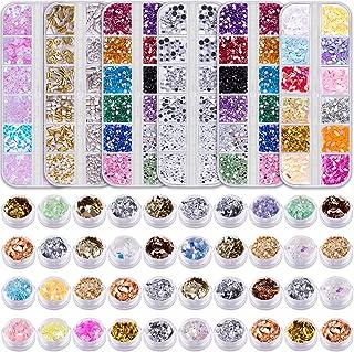 Duufin 6 Boxes Nail Rhinestones and 40 Pots Nail Foils Flakes Nail Paillette Foil Chips Nail Sequins Nail Gems Nail Studs for Nails Art