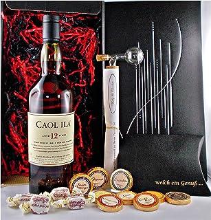 Geschenk Caol Ila 12 Jahre Islay Single Malt Whisky  Glaskugelportionierer  Edelschokoladen  Fudge