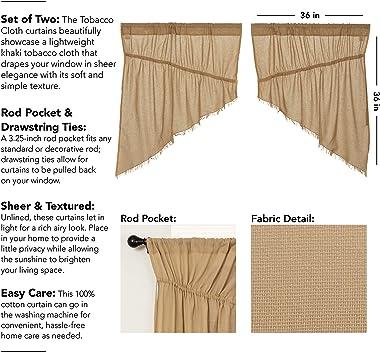 VHC Brands Primitive Farmhouse Kitchen Window Curtains-Tobacco Cloth Fringed Prairie Swag Pair, Set 36x36x18, Khaki