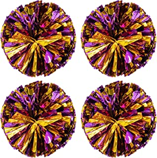 Pack of 4 Cheerleading Pom Poms Foil Plastic Metallic Cheerleader Pom Poms for Cheer Sport Kids Adults Team Spirit Cheering