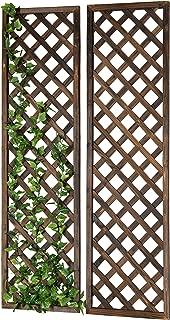 MyGift Wall-Mounted Rectangular Brown Wood Garden Trellis, Lattice Plant Screen, Set of 2