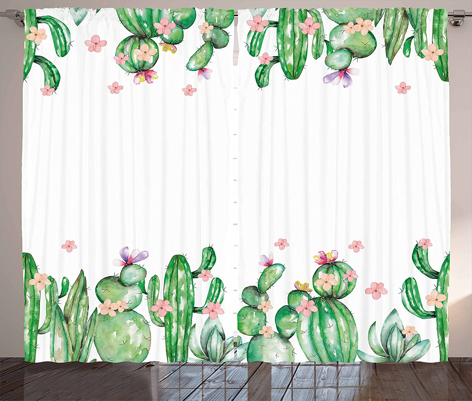 Ambesonne List price Cactus Curtains Super intense SALE Mexico Romantic Style Blossoms Tender
