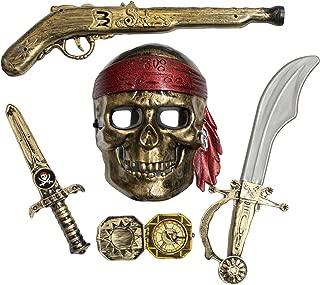 Fun Stuff Skeleton Pirate Buccaneer 5 Piece Costume Accessory Kit