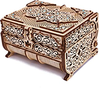 Wood Trick Treasure Box 3D Wooden Puzzle - Cute & Neat Design - with Shimmering Crystals - Store Your Jewelry - DIY Gift Box - Wooden Model Kit to Build