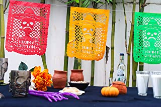 Fiesta Brands 2 Pack Mexican .Charro Negro Papel Picado Banner.Vibrant Colors Tissue Paper