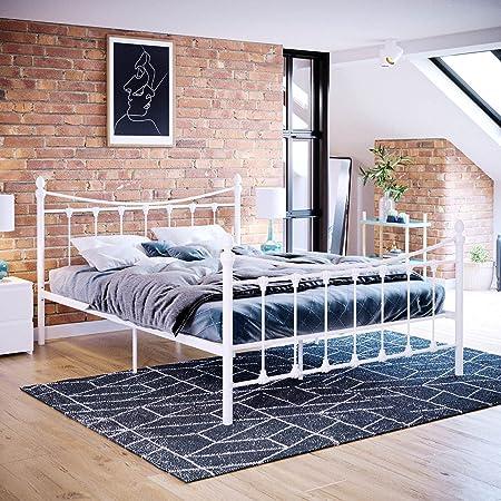 Vida Designs Cadre de lit Double Paris 137 cm Tête de lit en métal Pied de lit Haut Meuble de Chambre Blanc