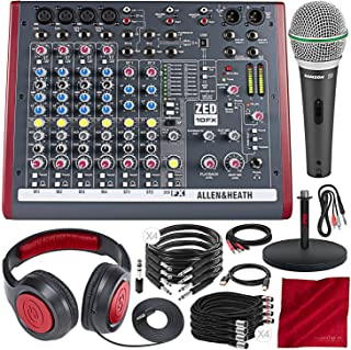 Allen & Heath ZED-10FX Multi-Purpose Miniature Mixer and Premium Bundle w/Dynamic Headphones+ Supercardioid Microphone + Much More