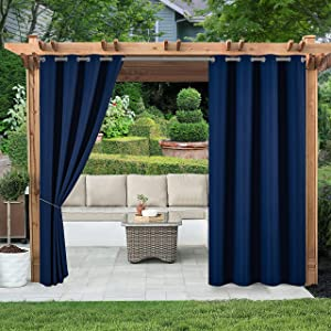 (2 Panels) Voday Waterproof Outdoor Curtains 54 X 84 Inch - Rustproof Grommet Heat Blocking Home Curtain - Room Darkening Blackout Curtains for Indoor, Patio, Pergola, Porch, Lanai, Garden, Cabana