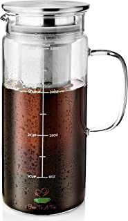 BTaT- Cold Brew Coffee Maker, 1 Quart,32 oz Iced Coffee Maker, Iced Tea Maker, Airtight Cold Brew Pitcher, Coffee Accessories, Cold Brew System, Cold Tea Brewing, Coffee Gift