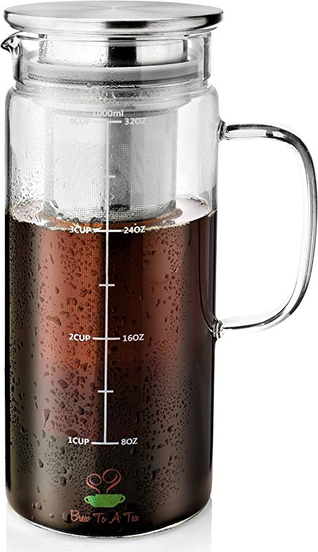 BT T Cold Brew Coffee Maker 1 Quart 32 Oz Iced Coffee Maker Iced Tea Maker Airtight Cold Brew Pitcher Coffee Accessories Cold Brew System Cold Tea Brewing Coffee Gift