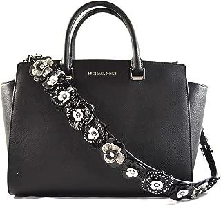 MICHAEL Michael Kors Selma Large TZ Satchel Handbag Tote with 3D Stud Floral Strap Black 35S9SLMS7L