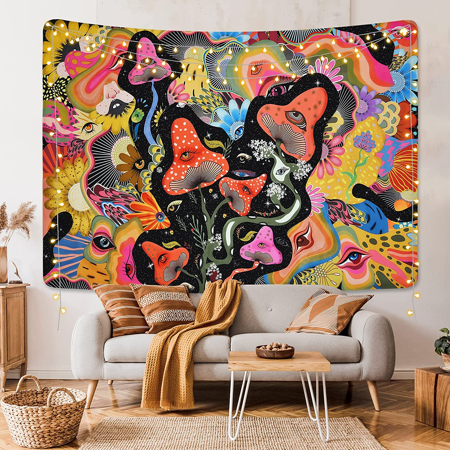 Mushroom Tapestry Psychedelic Eyes Tapestries Trippy Tapestry Colorful Flowers Tapestry Wall Hanging for Room(59.1 x 59.1 inches)