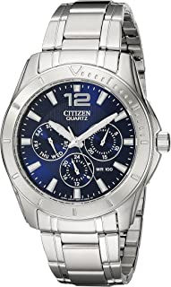 Men's Stainless Steel Watch with Blue Dial
