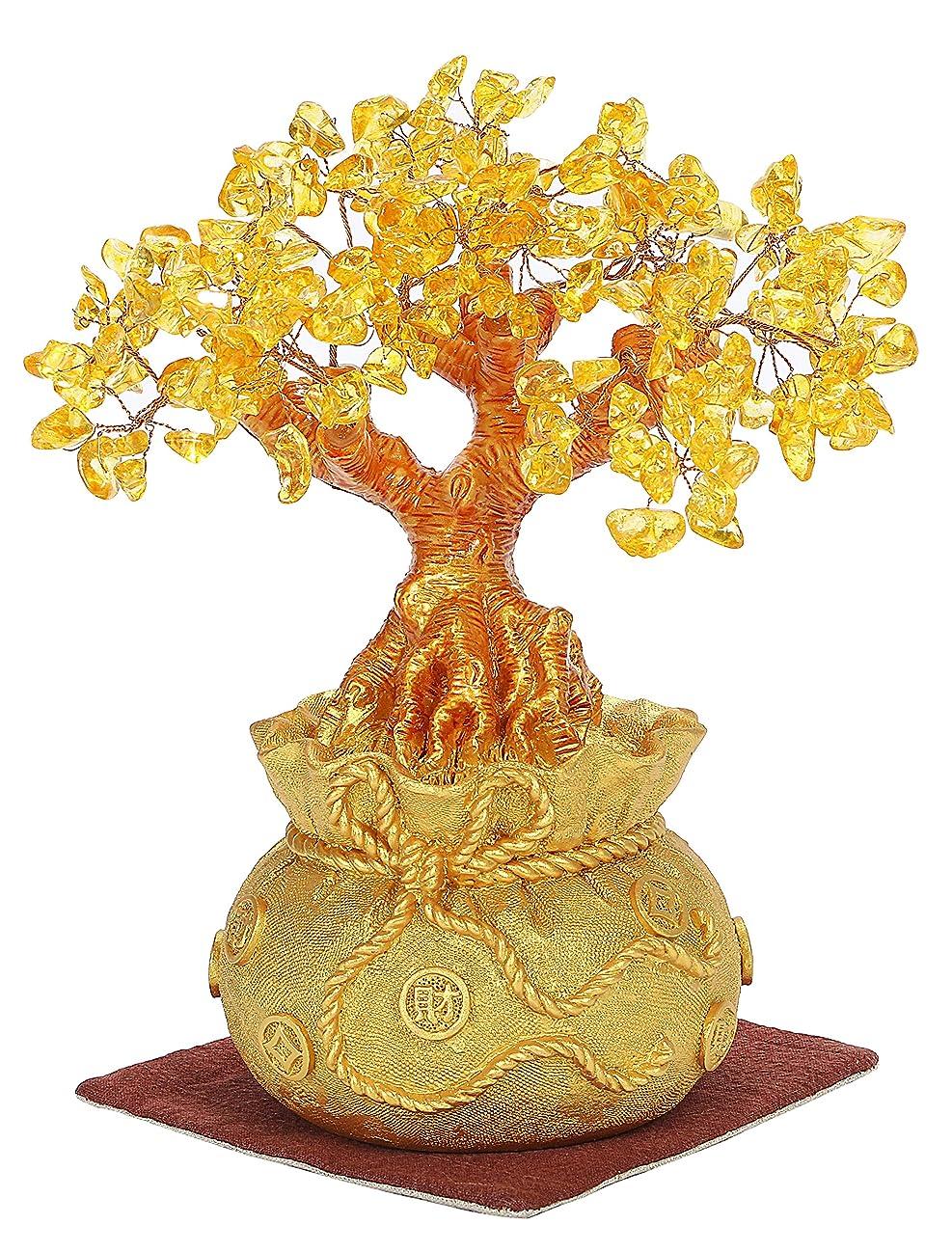 発音する鏡漫画Life Palette 置くだけで金運アップ 招財樹 置物 金のなる木 黄水晶 シトリン 幸運の木 敷物2色セット (大)