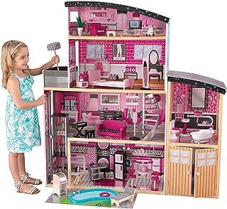 KidKraft 65826 Sparkle Mansion Dockhus av Trä, 3 Våningar, Flerfärgad, För Dockor Upp till 30 cm