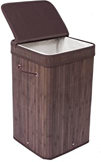 BIRDROCK HOME Square Laundry Hamper with Lid and Cloth Liner - Bamboo - Espresso - Easily Transport Laundry Basket - Collapsible Hamper - String Handles