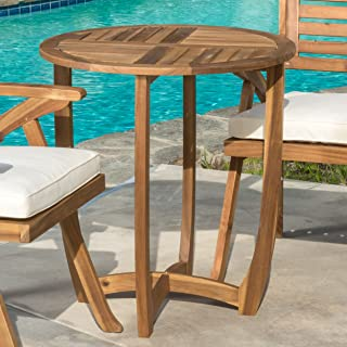 Navarro   Round Wood Outdoor Accent Table   Perfect For Patio   with Teak Finish