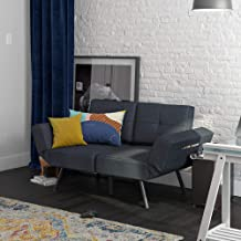 REALROOMS Euro Loveseat Futon, Couch, Adjustable Armrest Sleeper, Blue Linen