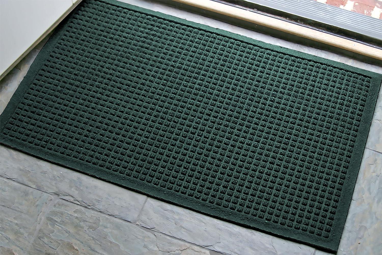 WaterHog Fashion Commercial-Grade Entrance Mat, Indoor Outdoor Charcoal Floor Mat  3' Length x 2' Width,   Evergreen      by M+A Matting