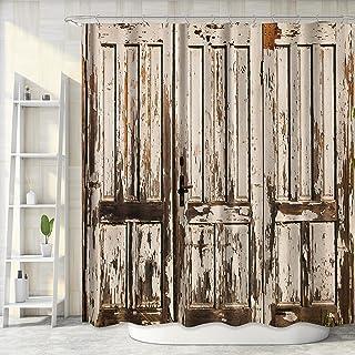 Riyidecor Extra Long Fabric Barn Door Shower Curtain for Bathroom 72Wx78H Inch Rustic Wood Bath Curtain for Men Women Farm...