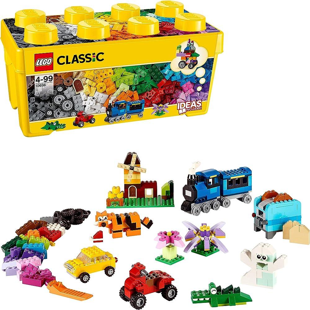 Lego classic scatola mattoncini creativi grande, set di costruzioni divertenti, contenitore giocattoli colorat 10696