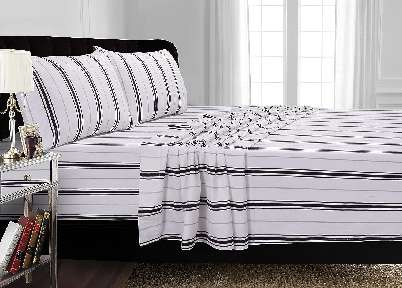 Tribeca Living 170-GSM Stripe Printed Deep Pocket Flannel Sheet Set King Black Grey