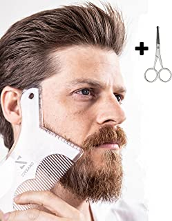 Sharpiz Beard Shaping Liner Stencil Tool | Transparent Shaper Template with Full-Size Comb and Barber Scissors for Styling with Trimmer, Razor or Clippers