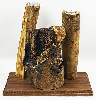 Lampada - Portacandele in legno Effetto Naturale Fatto a Mano
