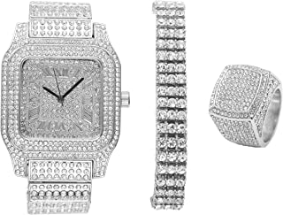 Bling-ed Out Biggie Sq. Silver Hip Hop Watch w/ 3 Row Bling-ed Out Tennis Bracelet and Bling-ed Out Ring - You Will Hypnotize in a Flashy Way - 0513S3RT3Set