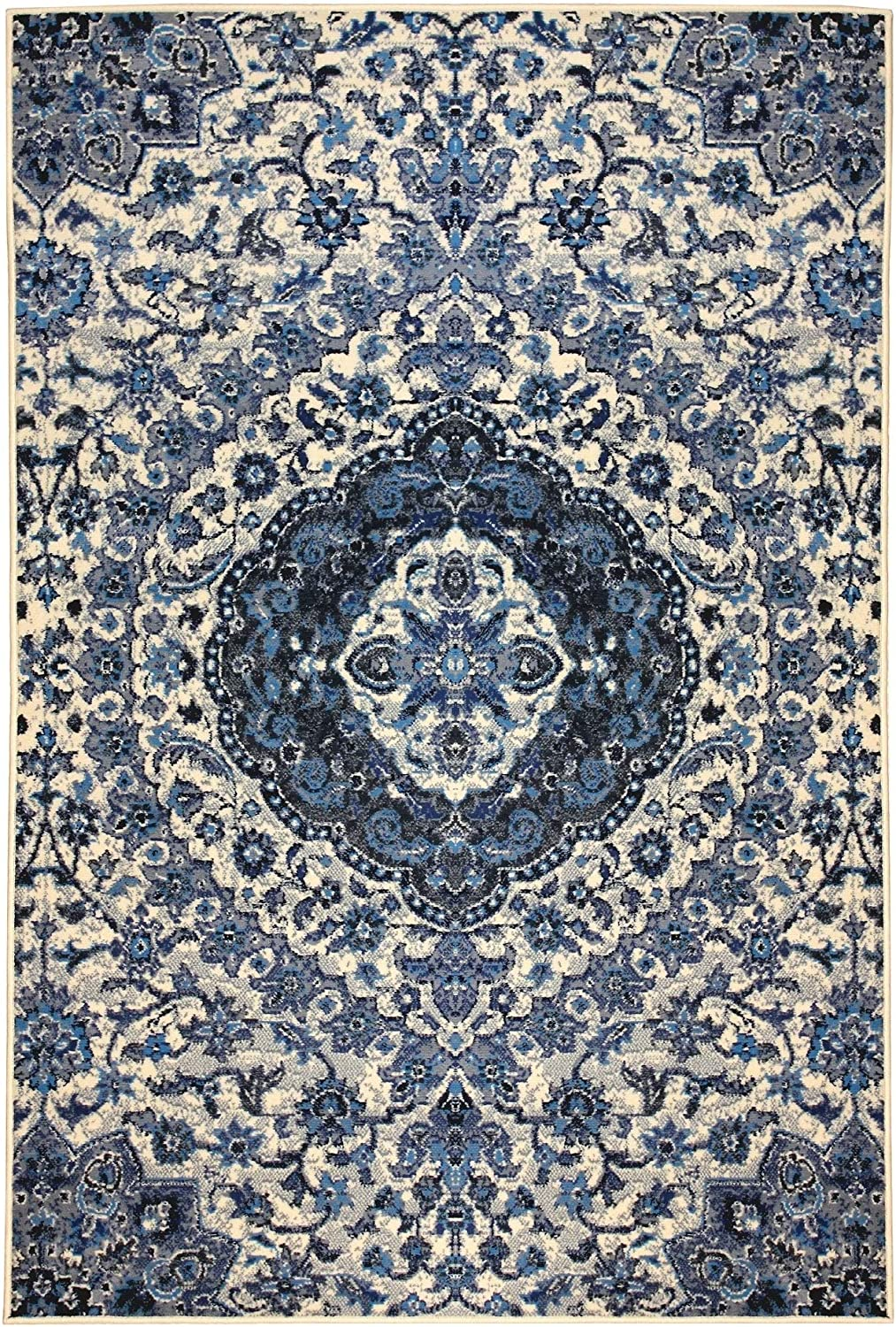 Home Blue 5'x8' Rug - New Free Shipping OFFer 5' Poly 8' Vintage Rectangle Medallion X