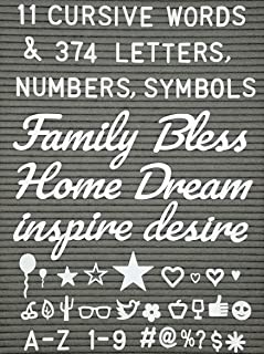 Extra Letters Set With Words - 11 Cursive Words and 374 Letters, Numbers, Symbols and Emoji's with Bonus Storage Bag(No Board)