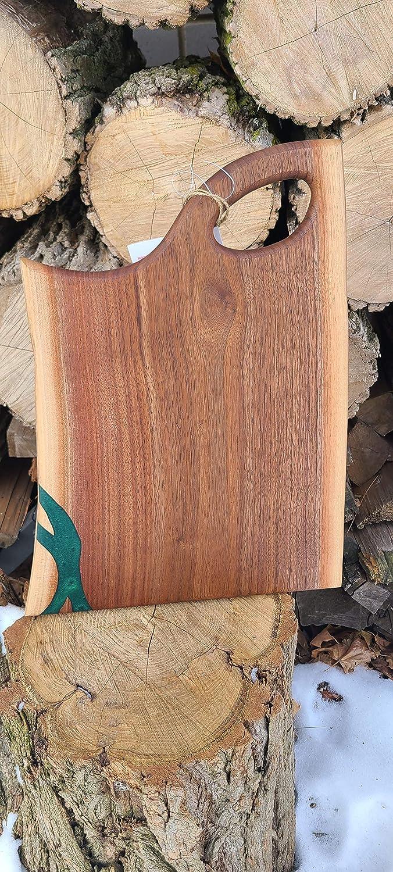 Handmade free shipping Epoxy Resin Black Walnut F Charcuterie Edge At the price Live Board