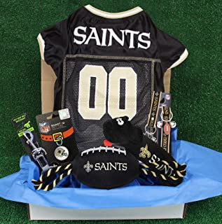 NFL New Orleans Saints PET GIFT BOX with 2 Licensed DOG TOYS, 1 Logo-engraved NATURAL DOG TREAT, 1 NFL JERSEY, 1 NFL Puppy...