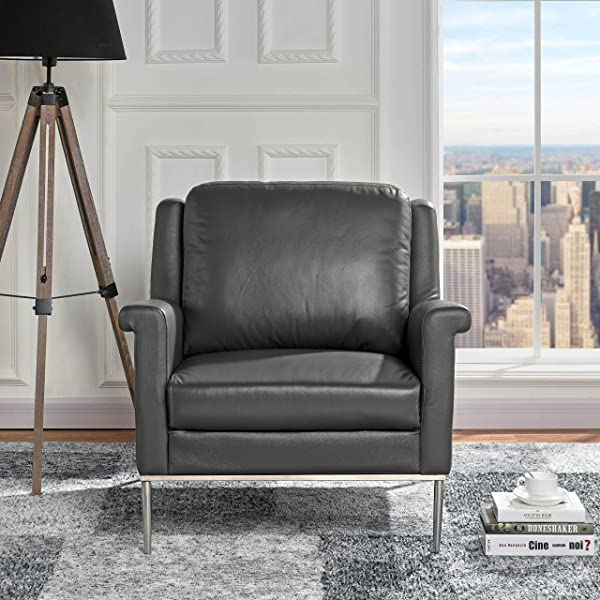 Modern Living Room Leather Armchair Accent Chair Grey