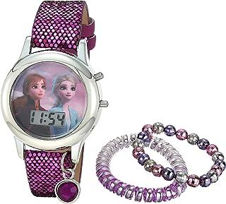 ساعة كوارتز بناتية من ديزني بسوار مطاطي، متعدد الألوان موديل 13 (FZN45048AZ)