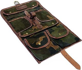 DRAKENSBERG Reise Kulturbeutel Kimberley-Camo-Washbag, gewachste Baumwolle, Leder, Camouflage, DR00190