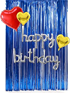 TOYXE Cursive Happy Birthday with Heart Foil Balloons and Party Fringe Curtain Set (40768)