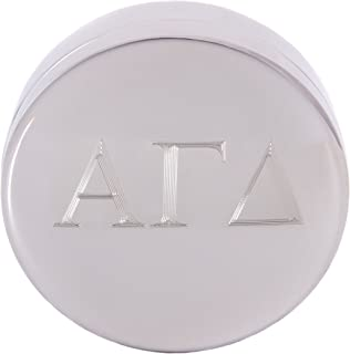Alpha Gamma Delta Round Engraved Pin Box Sorority Greek Decorative Case Great for Rings, Badges, Jewelry Alpha Gam (Round Metal Letter Pin Box)