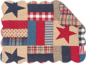 C&F Home Bennington Single Placemat Quilted Reversible Cotton Stars Stripes 4th of July USA Patchwork Table Mat for Kitchen Dining Table Rectangular Placemat Tan