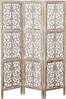 Key West Screen,Room Divider, Carved Floral Motifs, 3 Panels, Vintage Style, Rustic Brown, White Wash Distressed Finish, Sustainable Wood, Approx. 6 Ft Tall, 59 Inches Wide, Privacy Screen