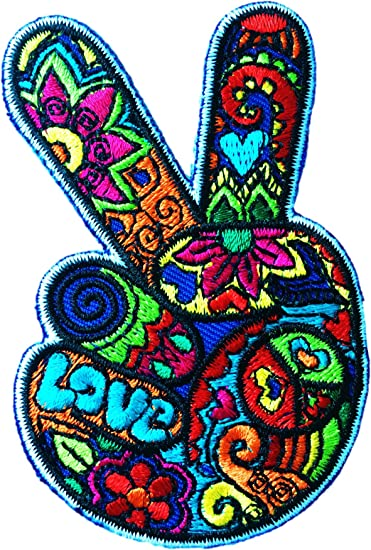 Pretty Peaceful Hand-embroidered Sew-on Patch