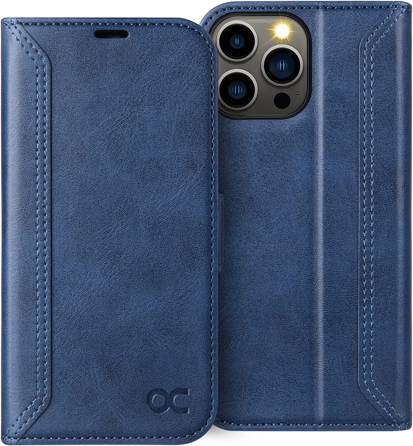 OCASE Retro Series Compatible with iPhone 13 Pro Max Wallet Case with Card Holders [RFID Blocking][TPU Inner Shell ][Kickstand] Shockproof PU Leather Flip Folio Phone Cover 6.7 inch 2021 (Blue)