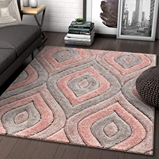 Well Woven Moira Pink Geometric Trellis Thick Soft Plush 3D Textured Shag Area Rug 5x7 (5'3