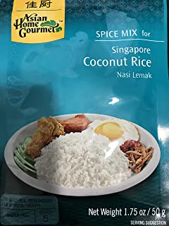 Asian Home Gourmet Spice Paste for Rice: Singapore Coconut Rice Mix (Nasi Lemak) (5 X 1.75 Oz)