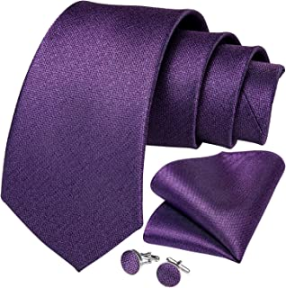 DiBanGu Men's Silk Tie and Pocket Square Woven Formal Tie Cufflink Set Solid Neckties