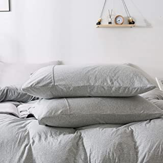 KAIANG Jersey Cotton Pillowcase (20x30 Inch), Super Soft Set of 2 Queen Size.(Grey)